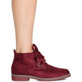 Infinie Passion  Burgundy flat ankle boots 00W060637  women's Low Ankle Boots in Red