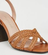 Tan Woven Strap Wood Flare Heel Sandals New Look