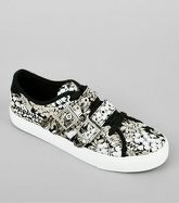 Black Floral Satin Buckle Lace Up Trainers New Look