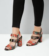 Black Floral Velvet Multi Buckle Sandals New Look