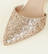 Wide Fit Rose Gold Glitter Stiletto Heels New Look