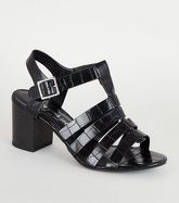 Black Faux Croc Caged Sandals New Look