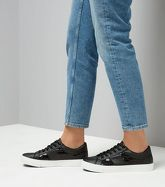 Black Sequin Panel Lace Up Trainers New Look