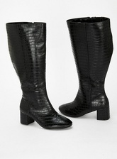 Wide Fit Black Croc Heel Boot, Black