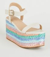 White Leather-Look Multi Plait Flatform Sandals New Look