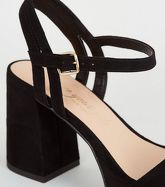 Wide Fit Black Suedette Flared Platform Heels New Look Vegan