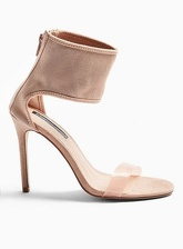 Womens Shimmy Nude Perspex Heeled Sandals, NUDE