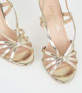 Gold Metallic Strappy Knot Stiletto Heels New Look