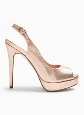 Womens Harper Gold Platform Slingback Sandals, ROSE GOLD