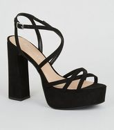 Black Suedette Strappy Platform Heels New Look Vegan