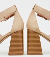 Light Brown Suedette Wood Flared Heel Sandals New Look Vegan
