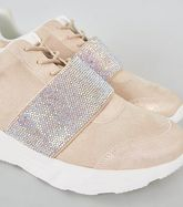 Pale Pink Suedette Gem Embellished Trainers New Look Vegan