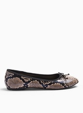 Womens Wide Fit Lily Pink Snake Bow Detail Ballerina, PALE PINK
