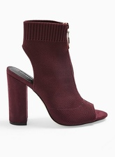 Womens Strike Red Block Heel Knitted Peep Toe Sandals, BURGUNDY