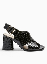 Womens Serene Crossover Peep Toe Sandals, BLACK