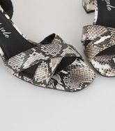 Wide Fit Stone Faux Snake Sandals New Look