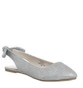 Office Fairytale Slingback Bow Point SILVER GLITTER