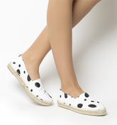 Office Lucky Espadrille With Toe Cap WHITE AND BLACK SPOTS