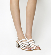 Office Manilla Strappy Multi Buckle Block Heel WHITE LEATHER