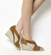 Office Maiden Cross Strap Wedge CAMEL SUEDE