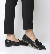 Office Retro Tassel Loafer BLACK SNAKE SUEDE WITH ROSE GOLD RAND