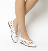 Office Fast Track Woven Ballerina WHITE LEATHER