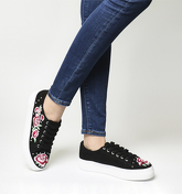 Office Flip Embroidered And Studded Trainer BLACK