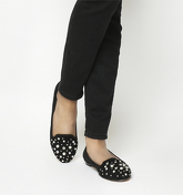 Office Fabrication-slipper BLACK SUEDE WITH EMBELLISHMENT