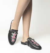 Office Facade Embroidered Flat Mules BLACK