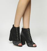 Office Antoinette- Satin Peep Lace Up BLACK SATIN