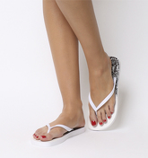 Office Seaside- Ombre Toe Post Sandal WHITE SNAKE