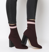 Office Alexis-r- Sock Boot BURGUNDY WITH PINK STRIPE