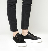 Office Flicker Satin Lace Up Trainer BLACK SATIN