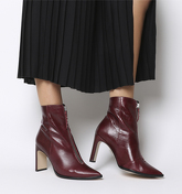 Office Avenge- Pointed Front Zip Heeled Boot BURGUNDY LEATHER SILVER ZIP