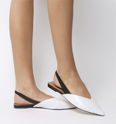 Office Fritz Point Slingback BLACKWHITE LEATHER