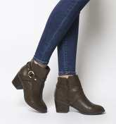 Office Angelina- Block Heel Strap Ankle Boot BROWN