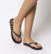 Office Seaside- Ombre Toe Post Sandal BLACK LEOPARD