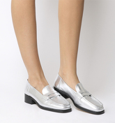 Office Fashion Show- Square Toe Loafer SILVER LEATHER