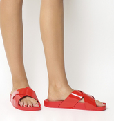 Office Splash- Cross Strap Colour Drench Slide RED