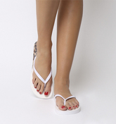 Office Seaside- Ombre Toe Post Sandal WHITE LEOPARD