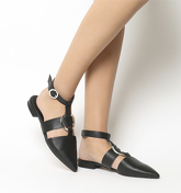 Office Forgiving Pointed Ring Flat BLACK GROUCHO LEATHER