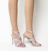 Office Harrogate Strappy Single Sole Heels LILAC NUBUCK
