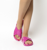 Office Splash- Cross Strap Colour Drench Slide PINK