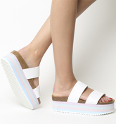Office Mambo Striped Sole Two Strap WHITE PASTELS