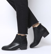 Office Able- Back Zip Block Heel Boot BLACK