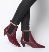 Office Arty - Cone Heel Chelsea Boot RED LEATHER