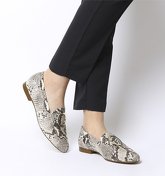 Office Fainthearted Ring Detail Loafer NATURAL SNAKE LEATHER W SNAKE RING