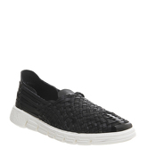 Ask the Missus Hackney Woven Sneaker BLACK LEATHER