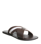 Ask the Missus Hector Cross Strap Sandal BROWN LEATHER