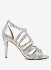 Womens Silver 'Blossom' Caged Heeled Sandals- Silver, Silver